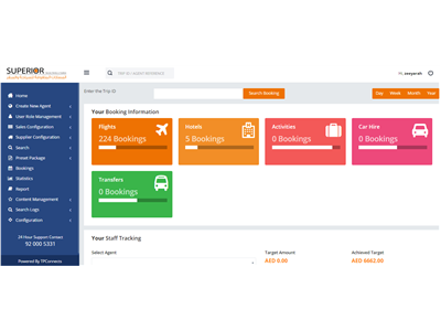 TPConnects Travel Aggregator Platform Dashboard